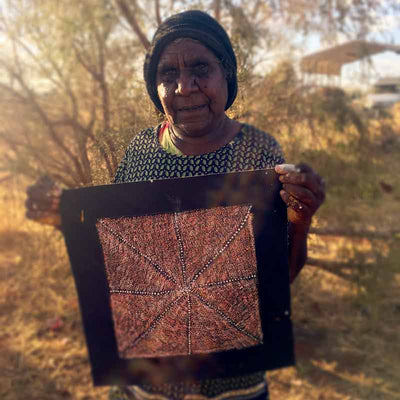 Bush Medicine by Patsy Long Kemarre by Patsy Long Kemarre, 30cm x 30cm. Australian Aboriginal Art.