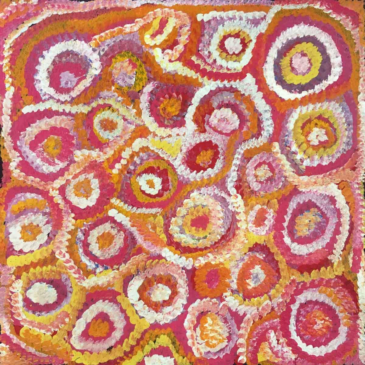 Pencil Yam Story by Dolly Mills Petyarre. Australian Aboriginal Art