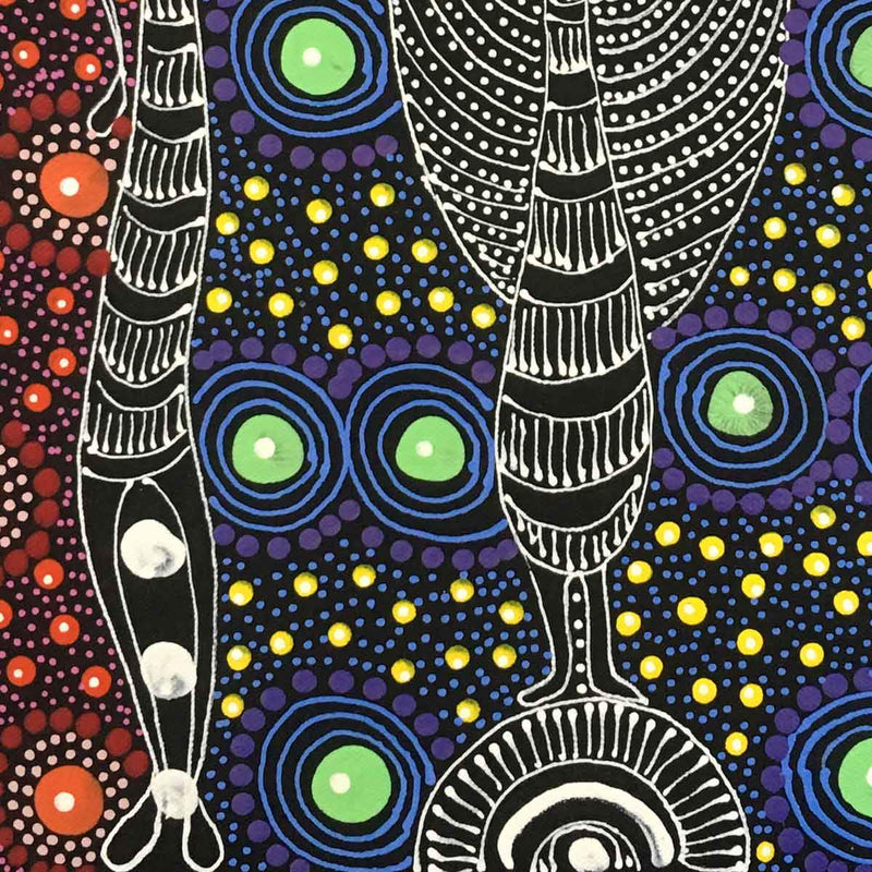 Dreamtime Sisters painting by Colleen Wallace Nungari. Australian Aboriginal Art.