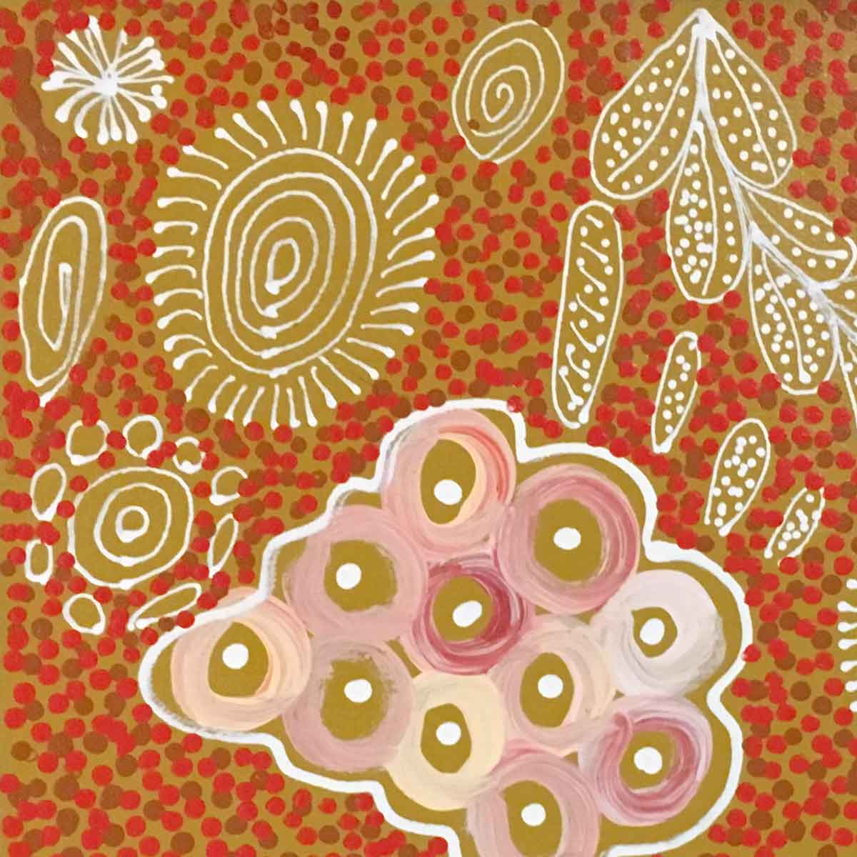 Pencil Yam by Janet golder Kngwarreye | Stretched. Australian Aboriginal Art.