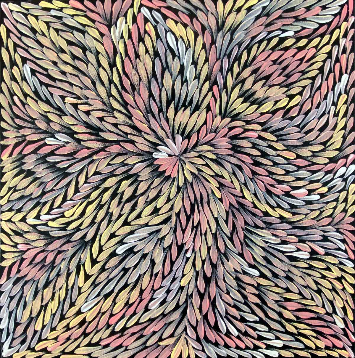 Pencil Yam Flower by Dulcie Long Pwerle. Australian Aboriginal Art.
