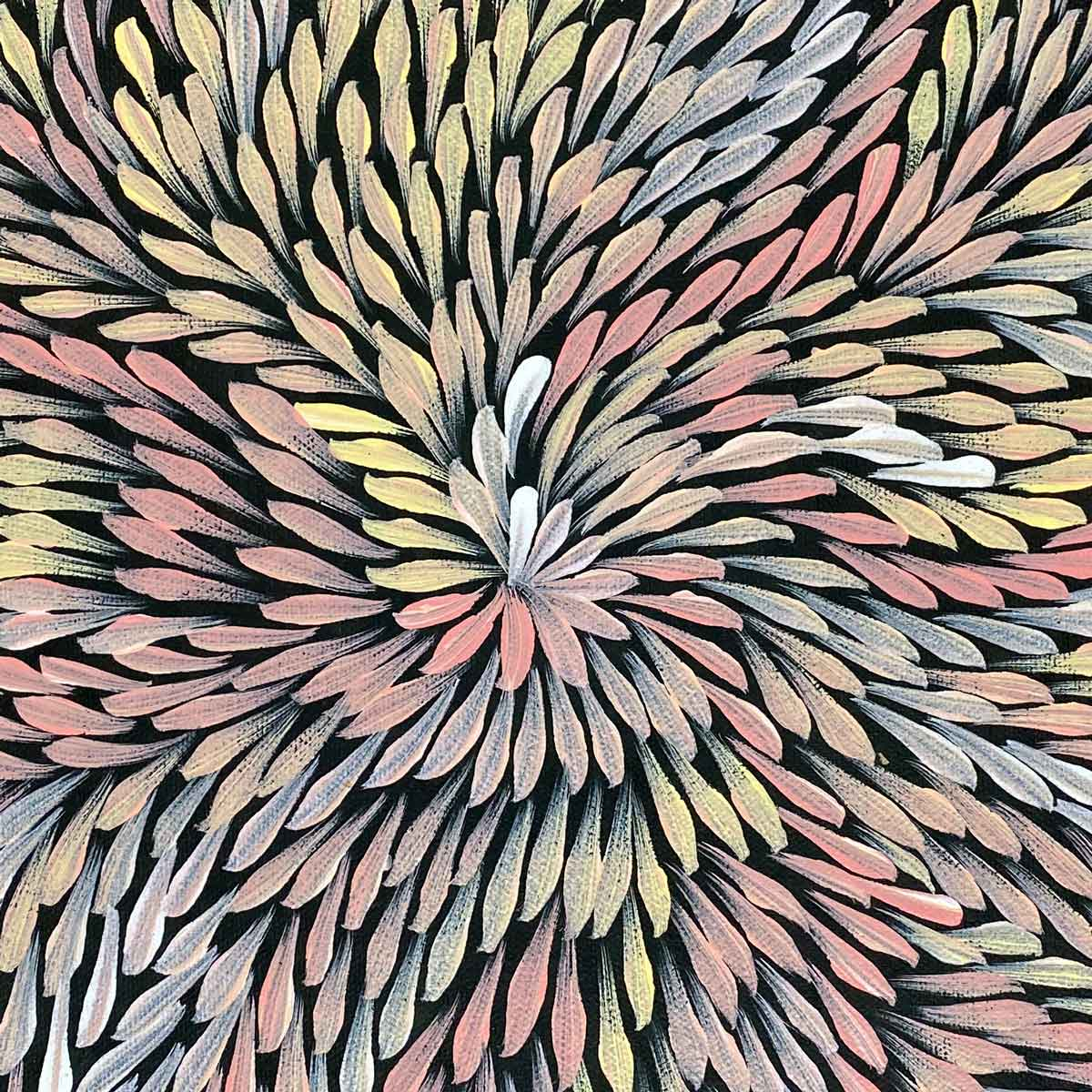Yam Flower by Dulcie Long Pwerle. Australian Aboriginal Art.