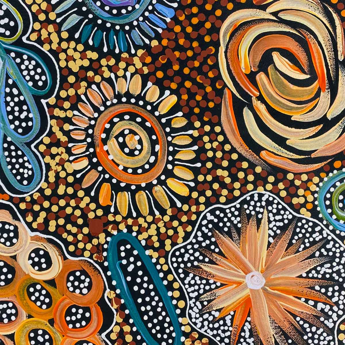 Pencil Yam Flower by Janet Golder Kngwarreye. Australian Aboriginal Art.