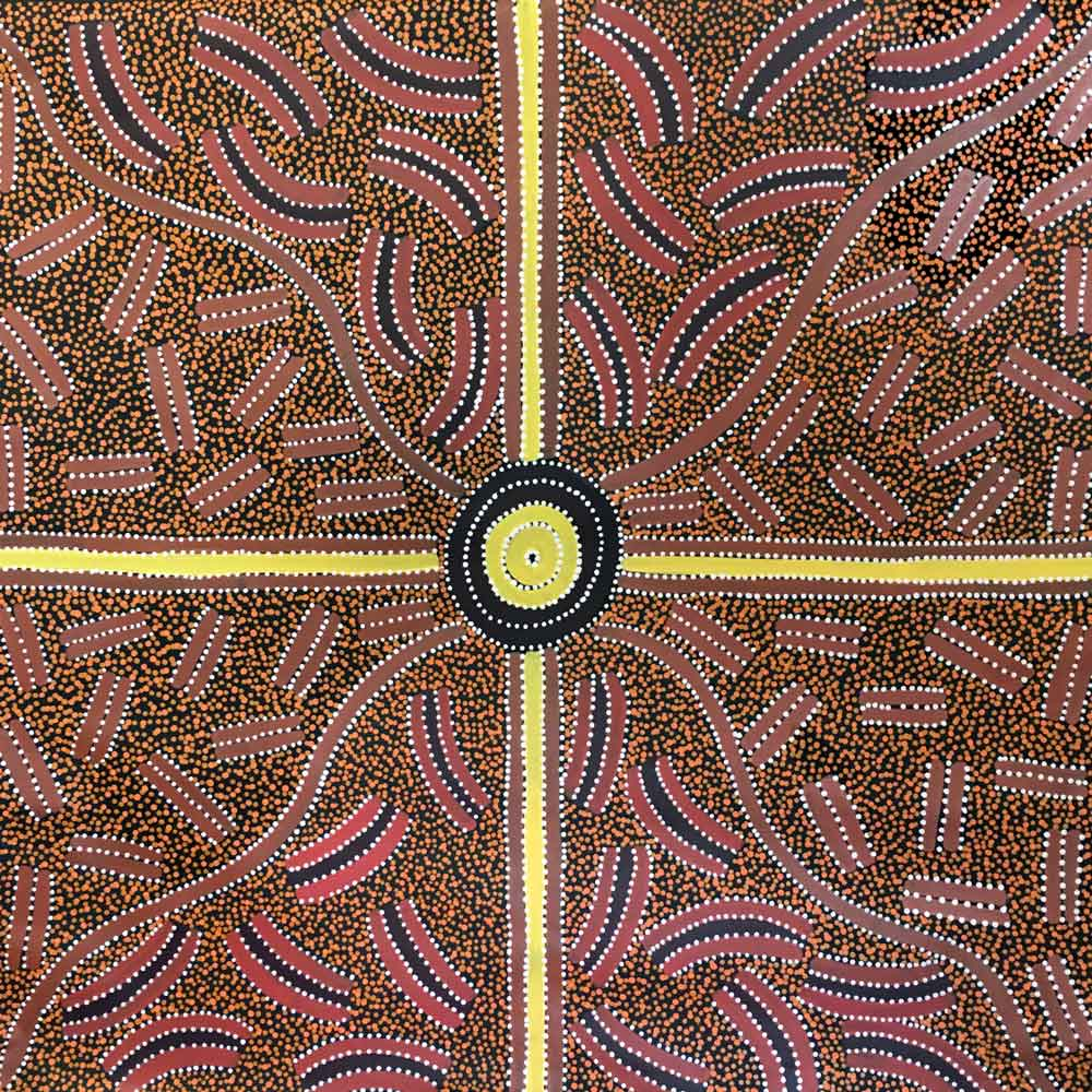 Ahakeye (Bush Plum) Dreaming by Lindsay Bird Mpetyane by Lindsay Bird Mpetyane, 90cm x 90cm. Australian Aboriginal Art.