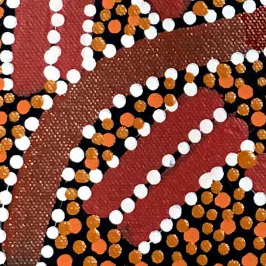 Ahakeye (Bush Plum) Dreaming by Lindsay Bird Mpetyane by Lindsay Bird Mpetyane, 30cm x 30cm. Australian Aboriginal Art.