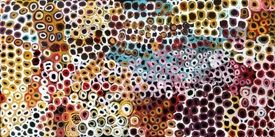 Soakage by Lena Pwerle NEW by Lena Pwerle, 180cm x 90cm. Australian Aboriginal Art.