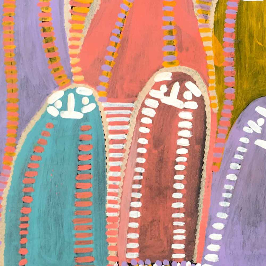 Atham-areny Story by Angelina Ngale by Angelina Ngale (Pwerle), 120cm x 45cm. Australian Aboriginal Art.