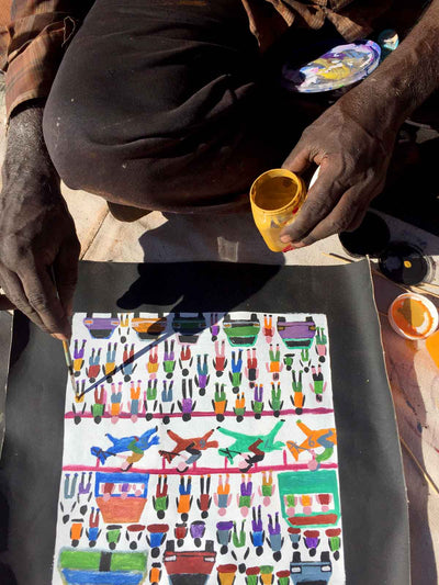 Horse Races by Dinny Kunoth Kemarre (SOLD)