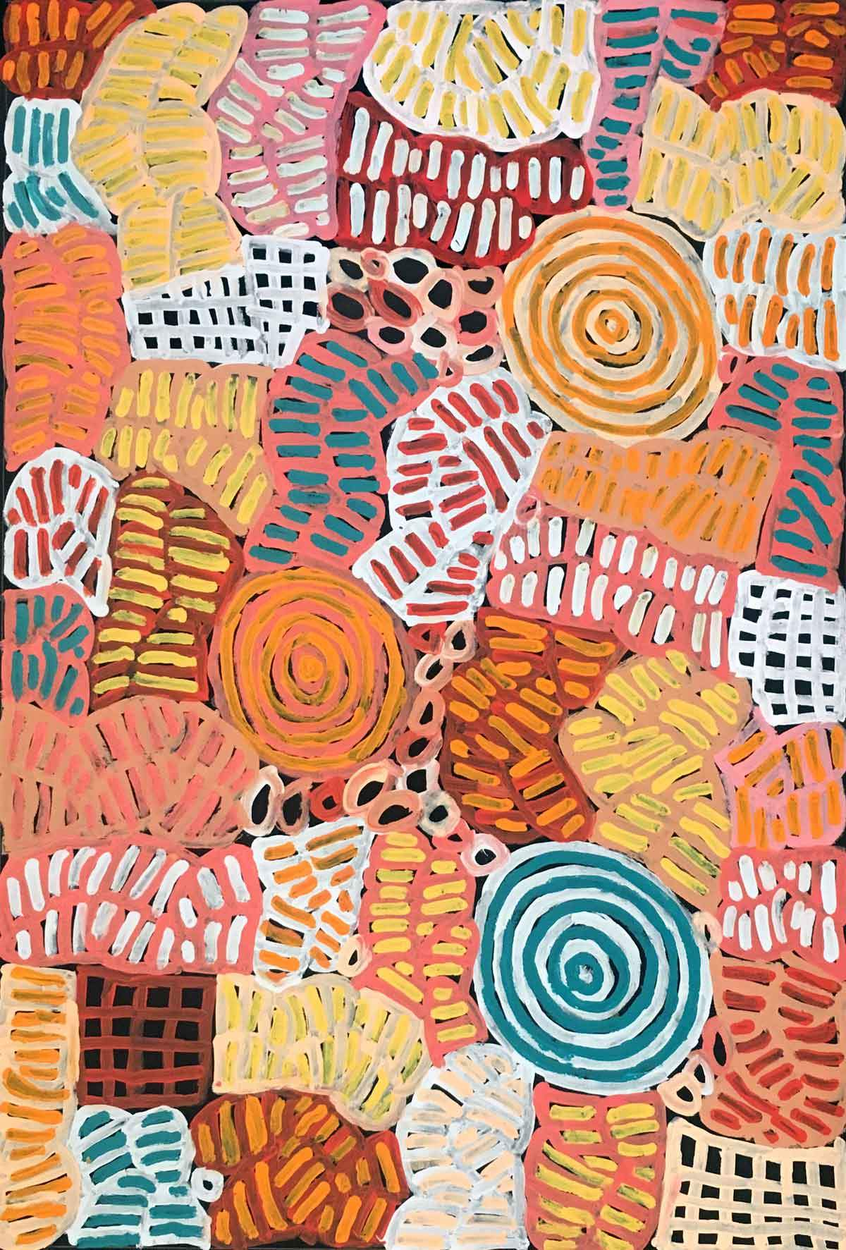 My Mother's Country by Betty Mbitjana. Australian Aboriginal Art