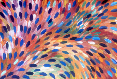 Leaves painting by Gloria Petyarre. Australian Aboriginal Art.