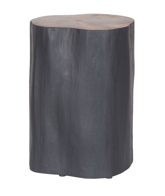 Log stool in black