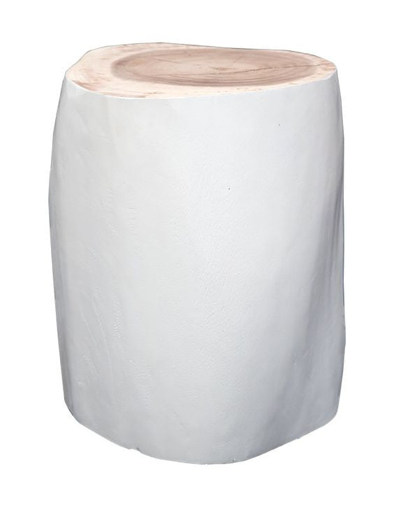 Log stool in white