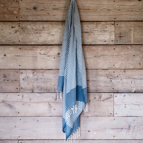 Traditional Turkish Hammam Peshtemal - Steel Blue