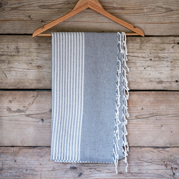 Traditional Turkish Hammam Peshtemal - Grey/White
