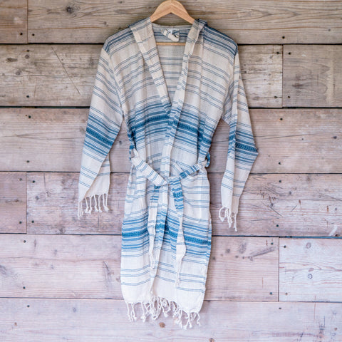 Traditional Turkish Hammam Robe - Blue/Cream