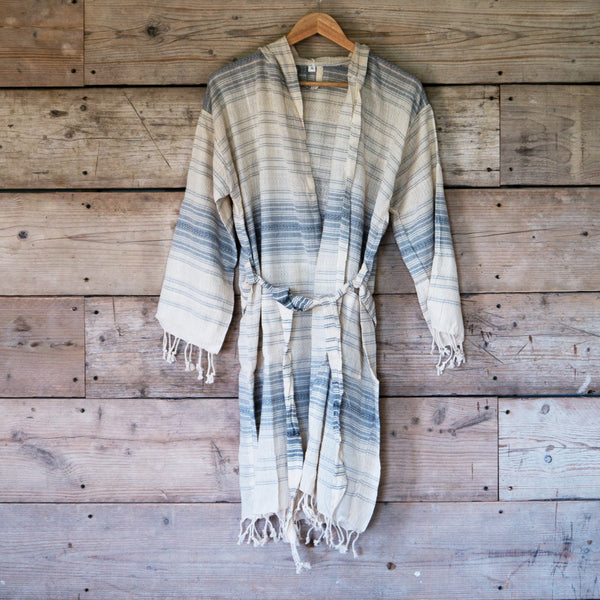 Traditional Turkish Hammam Robe - Grey/Cream