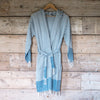 Traditional Turkish Hammam Robe - Steel Blue/White