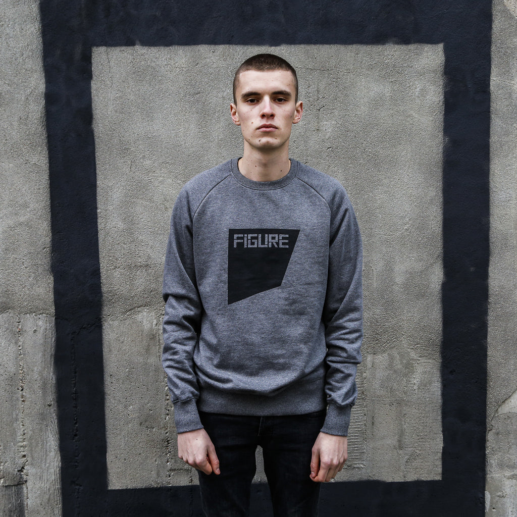 FIGURE SWEATER - THE SQUARE - BLACK ON GREY