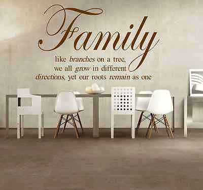 FAMILY BRANCHES TREE ROOTS WALL ART STICKER QUOTE LOVE HOME LOUNGE BEDROOM DECAL