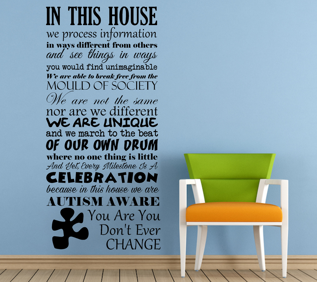 Autism Awareness In This House Vinyl Wall Art Quote Decal Sticker Sign