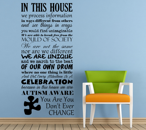 Autism Awareness In This House Vinyl Wall Art Quote Decal Sticker Sign Part 96
