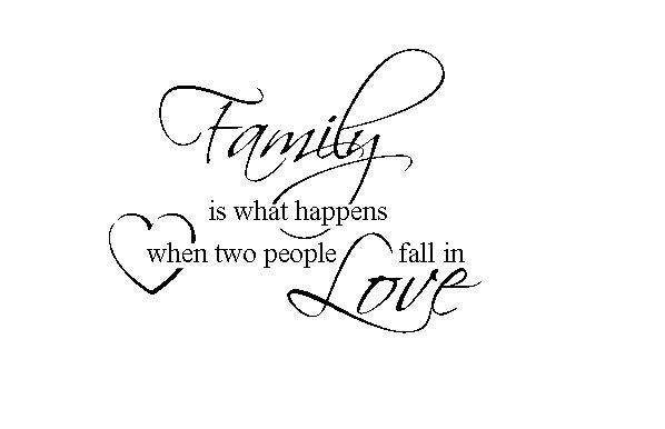 Family - Two People Fall In Love Vinyl Wall Art Quote Decal Sticker