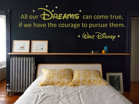 "Walt Disney ""Dreams"" Vinyl Wall Art Quote Decal Sticker. Adult Or Children"
