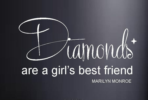 Marilyn Monroe Diamonds Girl's Best Friend Vinyl Wall Art Quote Decal Sticker