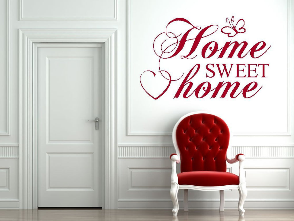 Wall stickers home sweet home - Home Sweet Home Vinyl Wall Art Quote Decal Sticker Sign Heart Butterfly Love