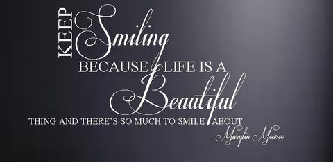 "Marilyn Monroe ""Keep Smiling"" Vinyl Wall Art Quote Decal Sticker"