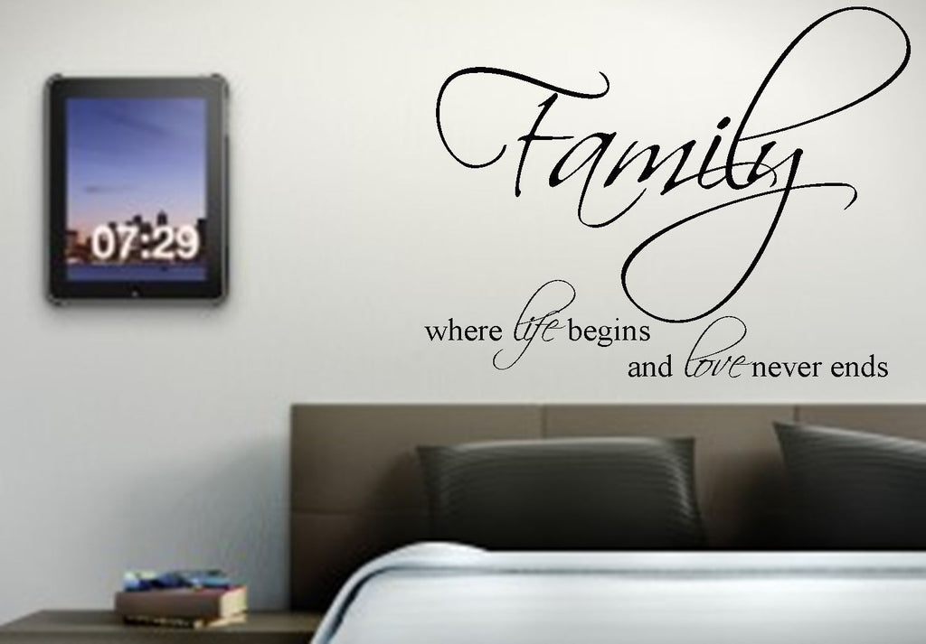 Family, Where Life Begins Vinyl Wall Art Quote Decal Sticker