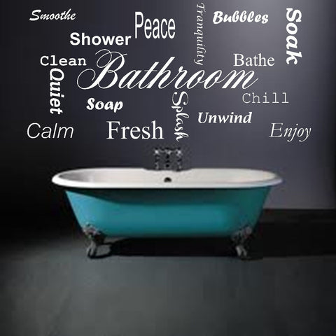 Bathroom Words Vinyl Wall Art Quote Decal Sticker Home Splash