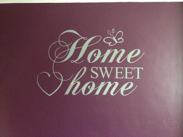 Home Sweet Home Vinyl Wall Art Quote Decal Sticker Sign Heart Butterfly Love