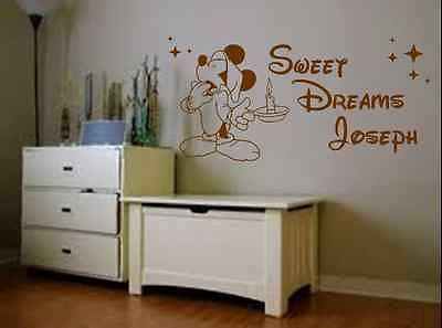 Disney Sweet Dreams Mickey Personalised Vinyl Wall Art Quote Sticker