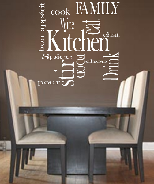 Kitchen words family love vinyl wall art quote decal for Dining room wall art stickers