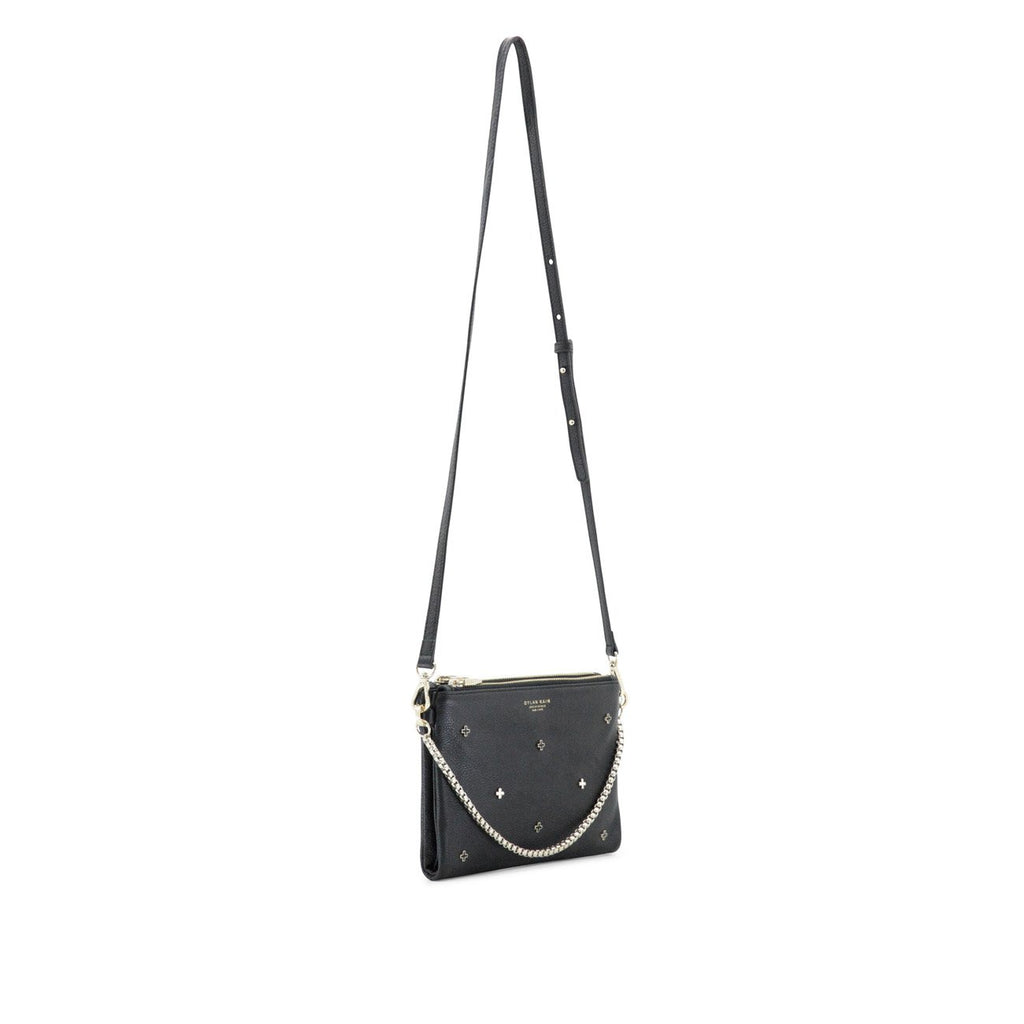 Dylan Kain The Bella Stars Black Leather Bag with Light Gold Chain and Hardware