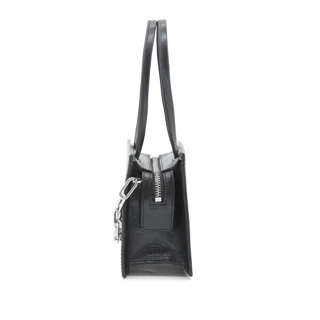 Dylan Kain Fernanda Mini Black Leather Bag with Silver Hardware