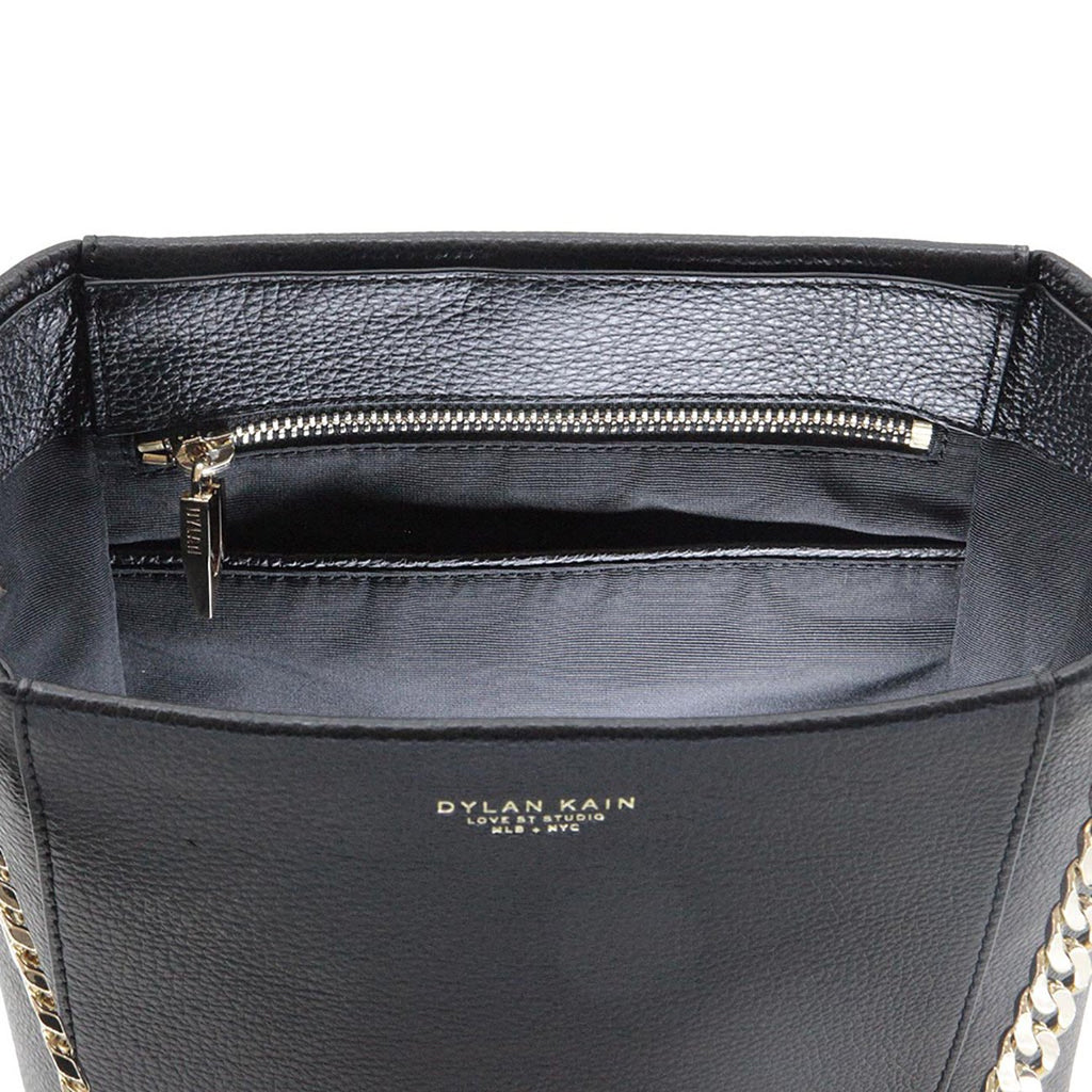 Dylan Kain The Kobe Black Leather Tote with Light Gold Chain
