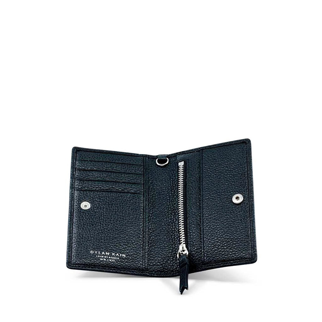 Dylan Kain La Geisha Black Leather Card Holder with Silver Hardware