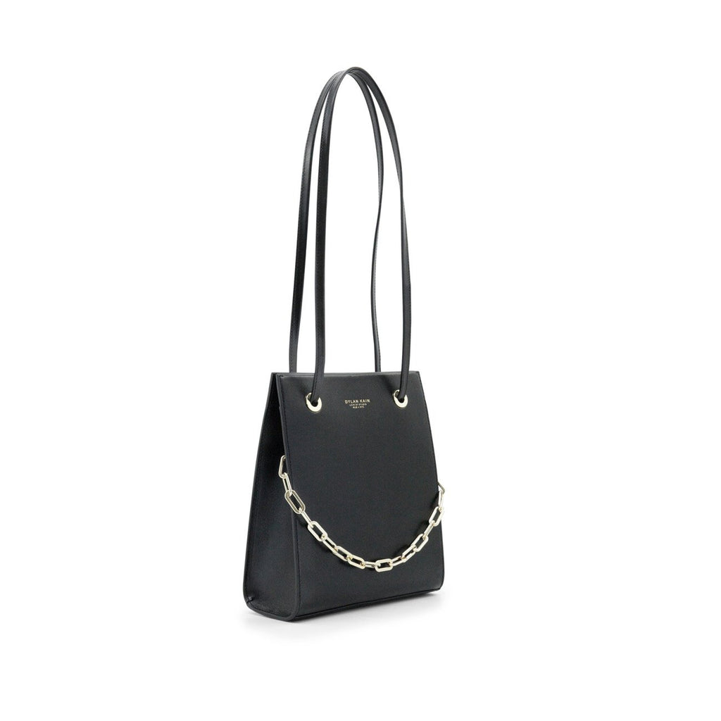 Dylan Kain Lydia Black Leather Bag with Light Gold Chain and Hardware