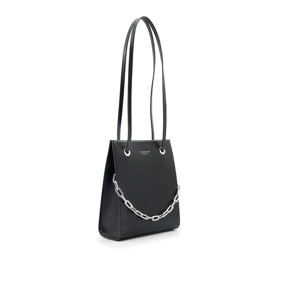 Dylan Kain Lydia Black Leather Bag with Silver Chain and Hardware