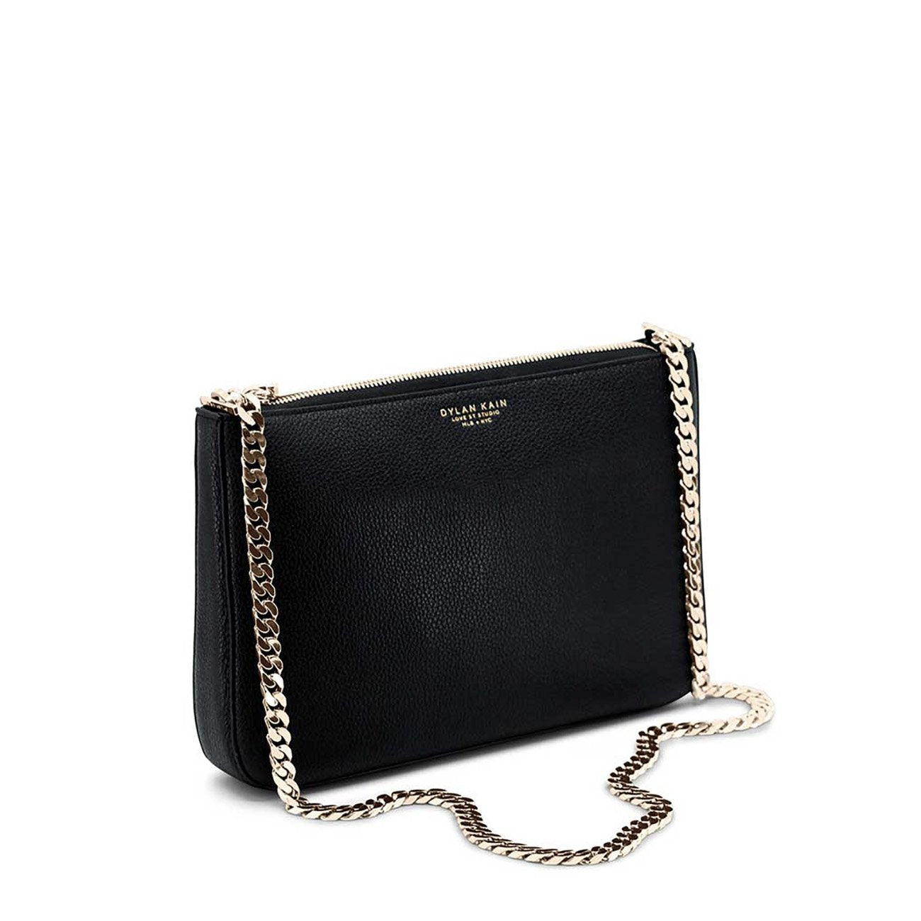 Dylan Kain Chloe Black Leather Bag with Light Gold Chain and Hardware