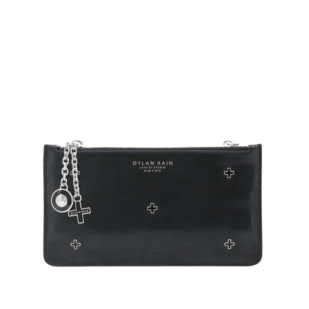 Dylan Kain Dana Black Leather Stars Pouch with Silver Hardware