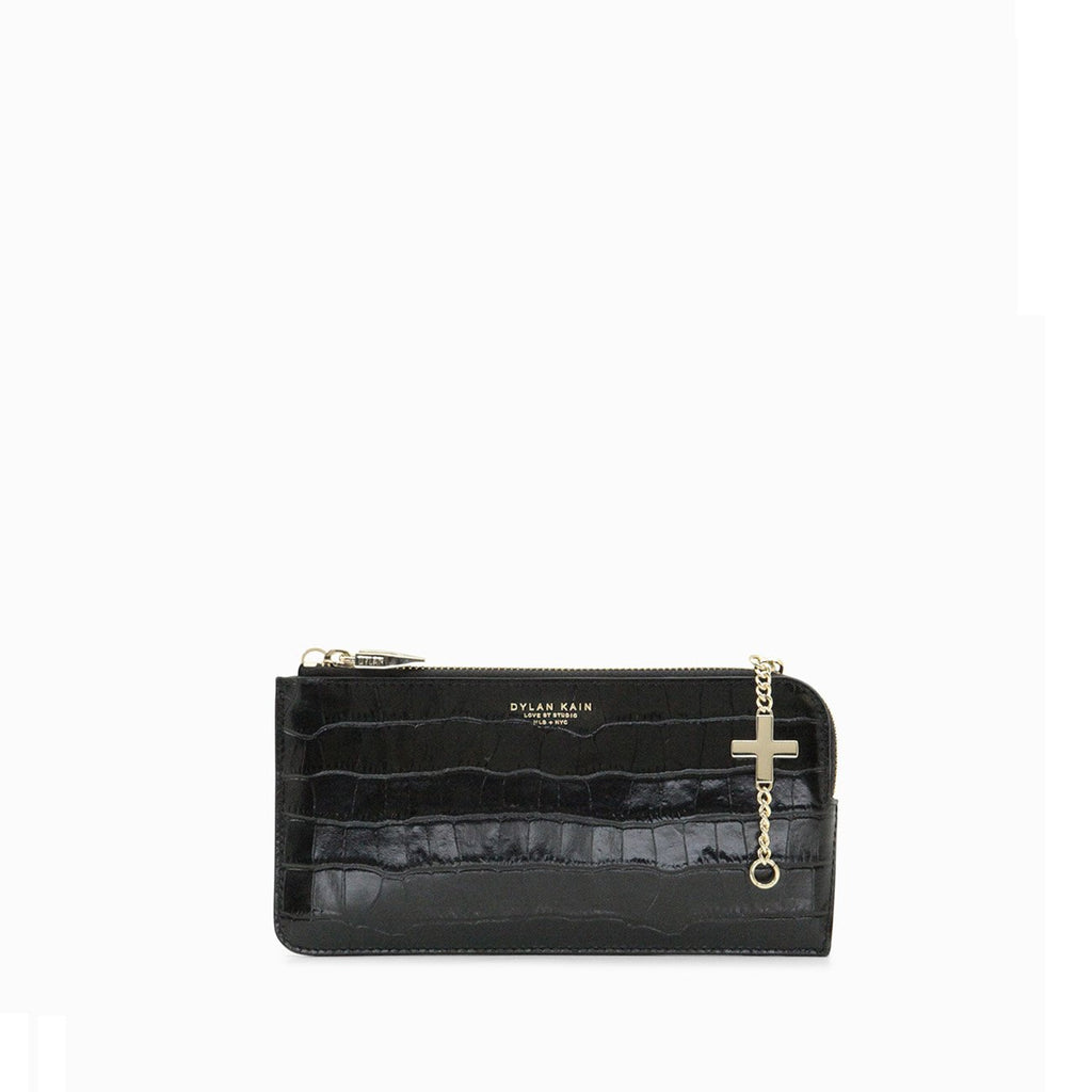 The Ciara Croc Phone Wallet Light Gold