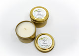 Wedding/Party Favors - 100 Two Ounces Travel Gold Tin Soy Candles Pattern B
