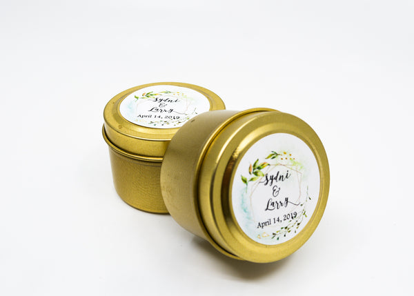 Wedding/Party Favors -  125 Two Ounces Travel Gold Tin Soy Candles Pattern B