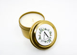 Wedding/Party Favors -  75 Two Ounces Travel Gold Tin Soy Candles Pattern A