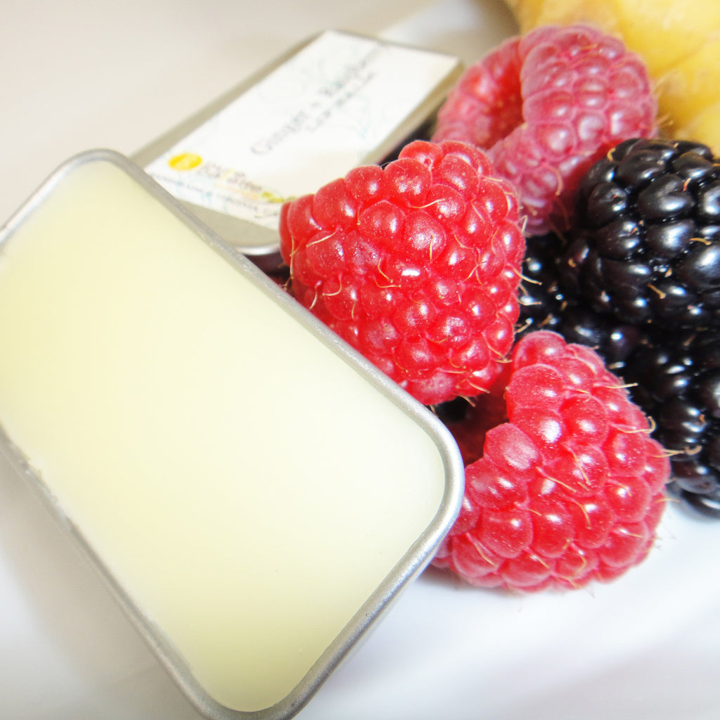 Ginger Raspberry Lip Balms in Small Tin