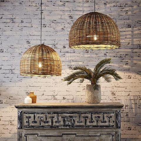 Rattan Wicker Pendants, Pair Dome