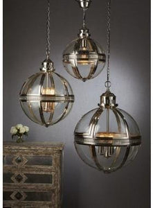 Pendant Light Saxon Pendant Lamp Lge Shiny Nickel 55Cm